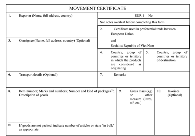 The certificate of Origin form EVFTA (EUR1)
